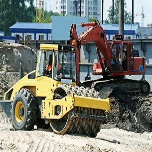 Steam roller and excavator.
